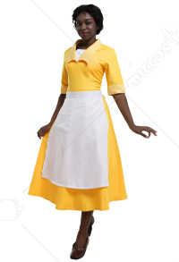 Yellow Maiden Dress Princess Cosplay Housemaid Costume Dress Inspired by Princess Tiana