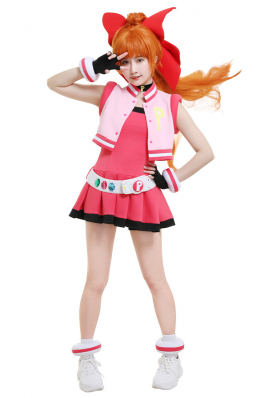 Girls Z PPGZ Hyper Blossom Momoko Akatsutsumi Cosplay Costume Vest Coat Dress Transformation Outfit with Hairband Gloves Belt Accessories