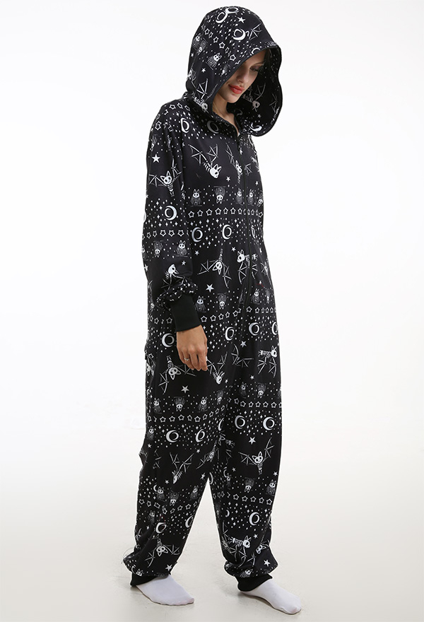 Dunkler Stil Star und Fledermaus Onesie Overall mit Kapuzen Homewear Kigurumi Pyjamas Lange Arm Jumpsuit Kostüm Halloween Anzug