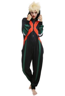 My Hero Academia Bakugou Katsuki Onesie Pajama One Piece Sleepwear Cosplay Costume Outfit