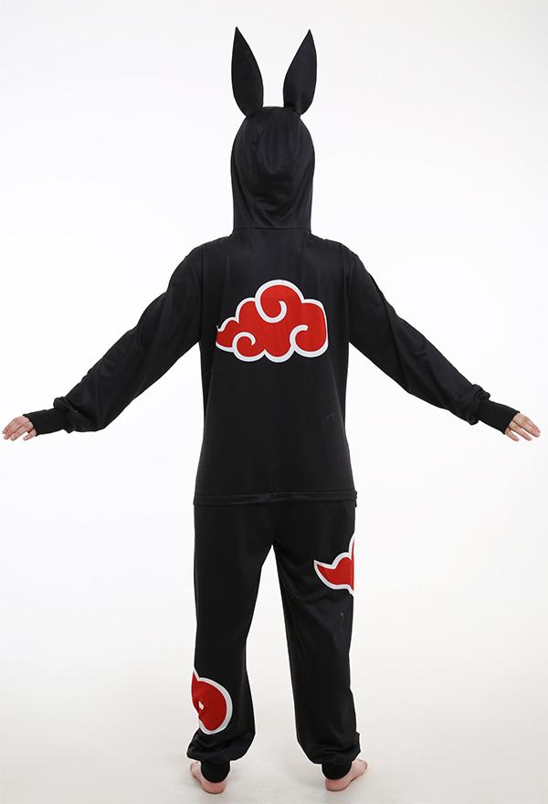 Japanischen Stil Wolke Akatsuki Bodysuit Cosplay Kostüm Jumpsuit Einteilige Anzug Pyjamas Kurze Hosen mit Schwanz Hasen Ohren Kapuze Cosplay Kostüm