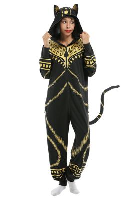 Women Halloween Bastet Ancient Egyptian Pharaoh Cat Onesie Pajama Loungewear Adult Hooded Onesie Homewear Kigurumi Costume Outfits