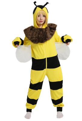 Biene Kawaii Damen Onesie Overall mit Kapuzen Homewear Kigurumi Pyjamas Lange Arm Jumpsuit Tier Kostüm Cosplay Halloween Anzug