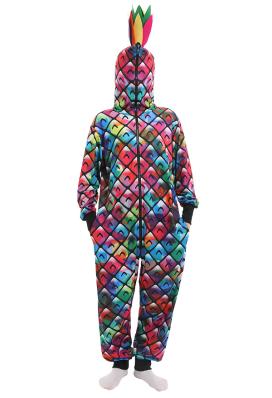 Combinaison Halloween Pyjama Une Pièce de Style Ananas Coloré Vêtement de Nuit à Manches Longues