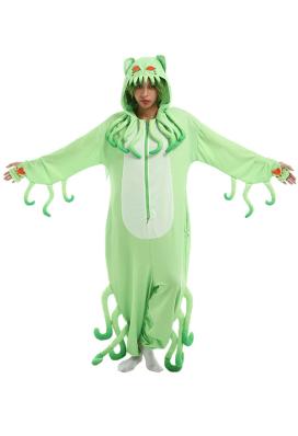 Women Halloween Cartoon Cat Monster Onesie Pajama Loungewear Adult Hooded Onesie Homewear Kigurumi Costume Outfits