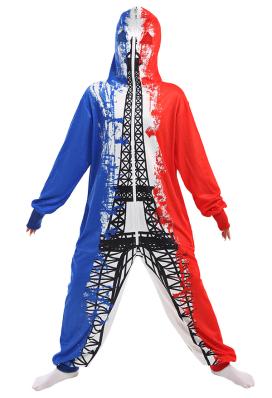 Combinaison Halloween Pyjama Une Pièce de Style Drapeau Français Vêtement de Nuit à Manches Longues avec Impressions de la Tour Eiffel