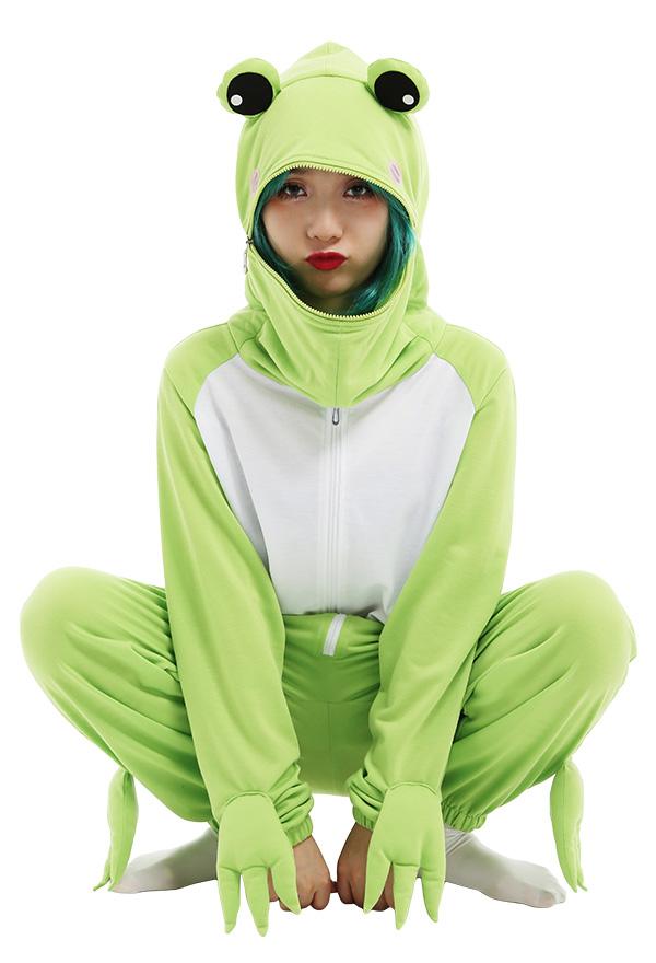 Frosch Grün Kawaii Damen Overall mit Kapuzen Pyjamas Lange Arm Jumpsuit Tier Kostüm Cosplay Halloween Anzug