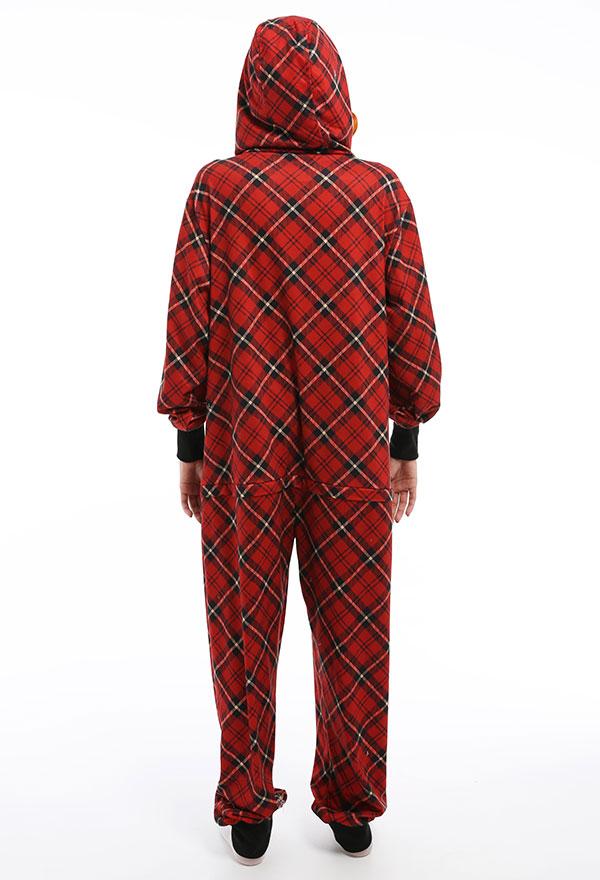 Rot Schwarz Kariertes Overall mit Kapuzen Pyjamas Lange Arm Jumpsuit Kostüm Cosplay Halloween Anzug