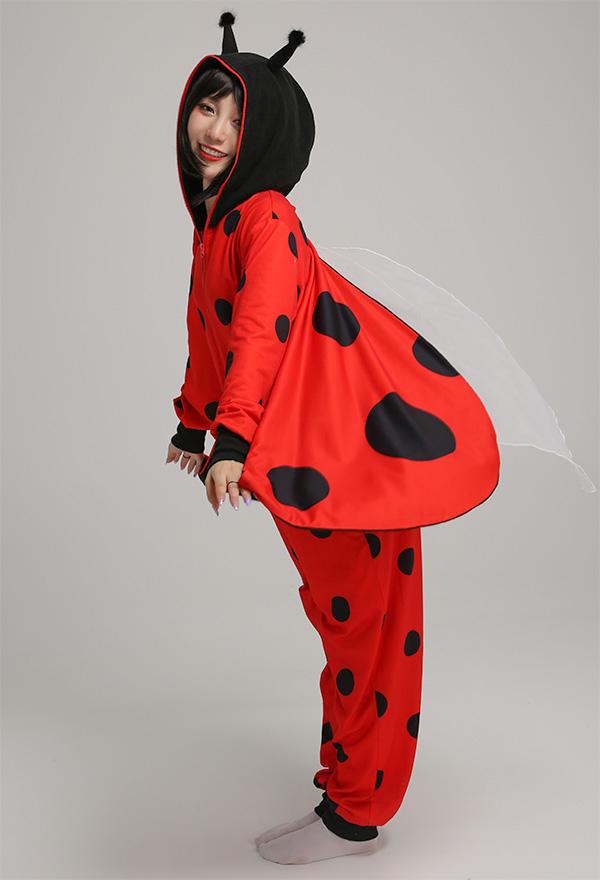 Marienkäfer Rote und Schwarz Punkte Muster Damen Overall mit Kapuzen Pyjamas Lange Arm Jumpsuit Kostüm Cosplay Halloween Anzug