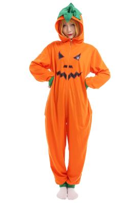 Women Cute Pumpkin Onesie Pajamas Hooded Adult Onesie Halloween Pajamas Kigurumi Costume Outfit