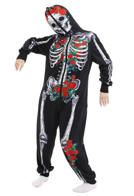 Damen Dunkler Stil Knochen Rose Overall mit Kapuzen Pyjamas Lange Arm Jumpsuit Kostüm Cosplay Halloween Anzug