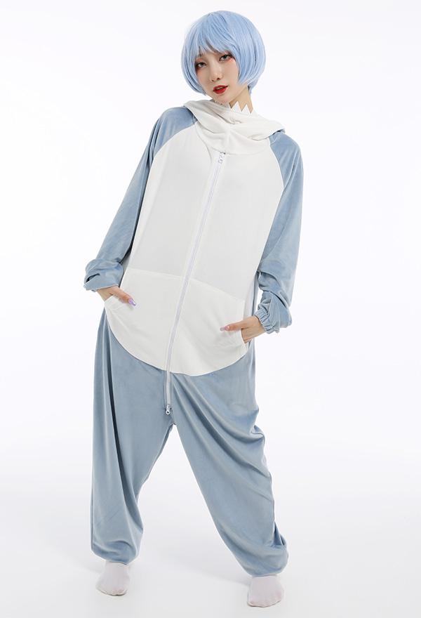 Kawaii Hai Blau Damen Overall mit Kapuzen Pyjamas Lange Arm Jumpsuit Kostüm Cosplay Halloween Anzug