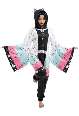 Shinobu Kochou Overall mit Kapuzen Pyjamas Lange Arm Jumpsuit Kostüm Cosplay Halloween Anzug