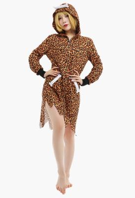 Damen Sexy Kleid mit Kapuzen Leopard Cosplay Kostüm Pyjamas mit Knochen Schmuck Lange Kleid Anzug