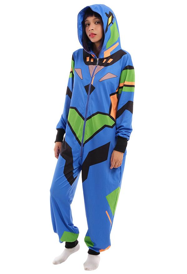 Unit 01 Muster Overall mit Kapuzen Pyjamas Lange Arm Jumpsuit Kostüm Cosplay Halloween Anzug