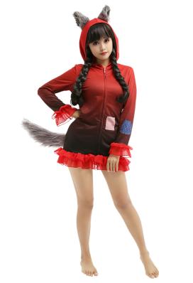 Rotkäppchen Kleid mit Kapuzen Homewear Pyjamas Lange Arm Lange Jacke Kostüm Cosplay Halloween Anzug