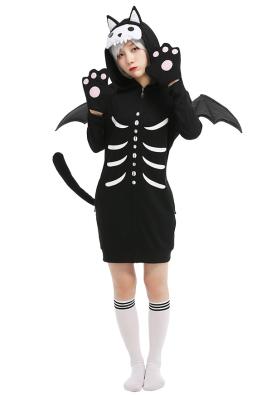 Robe à Capuche Halloween Pyjama Une Pièce Style Chat Chauve-souris Robe de Nuit