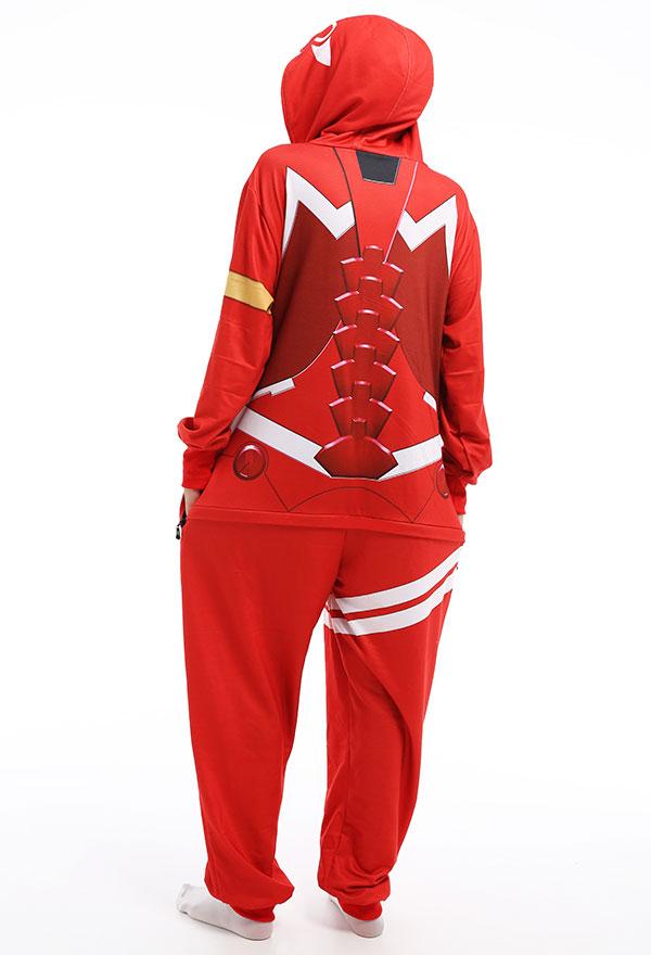 Damen Zero Two 002 Overall mit Kapuzen Pyjamas Lange Arm Jumpsuit Kostüm Cosplay Halloween Anzug