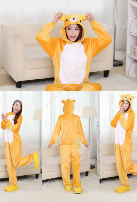 Rilakkuma Cute Warm Kigurumi Pajamas Flannel Costume for Adults and Kids