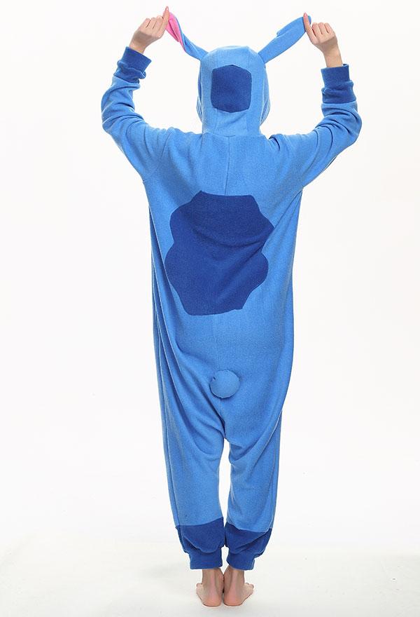 Süß Halloween Fasnacht Stitch Blau Erwachsene Pyjama Schlafanzug Overall mit Kapuze Kostüm