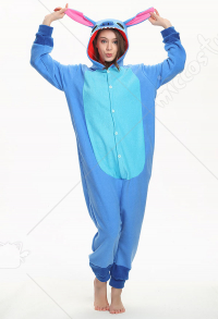 Kigurumi Blue Patch Stitch Onesie Pajama Cartoon Animal Polar Fleece Male Female Animal Costume