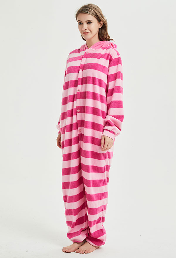 Süß Halloween Fasnacht Alice im Wunderland Grinsekatze Erwachsene Pyjama Schlafanzug Overall mit Kapuze Kostüm