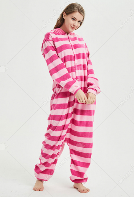 Alice in Wonderland Cheshire Cat Cute Kigurumi Pajamas Polar Fleece Costume Couple Costume