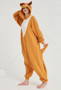 Kigurumi Reindeer Onesie Pajama Yellow Cartoon Animal Polar Fleece Male Female Animal Costume