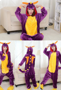Dragon Cute Warm Kigurumi Pajamas Flannel Costume for Adults and Kids