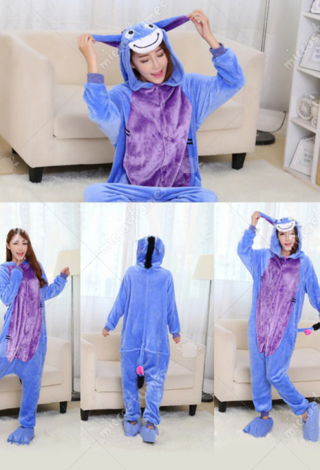 Little Donkey Cute Warm Kigurumi Pajamas Flannel Costume for Adults and Kids