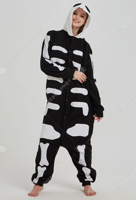 Kigurumi Jack The Skeleton Onesie Pajama Cartoon Polar Fleece Homewear Male Female Animal Costume