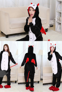Little Devil Cute Warm Kigurumi Pajamas Flannel Costume for Adults and Kids