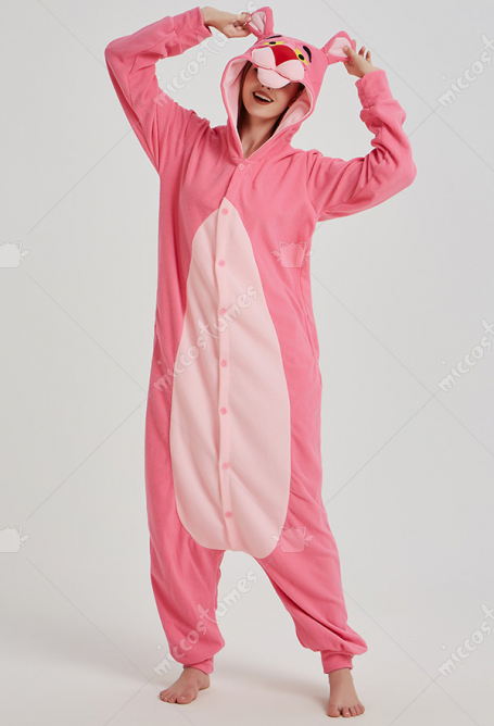 Cute Pink Panther Kigurumi Pajamas Polar Fleece Costume