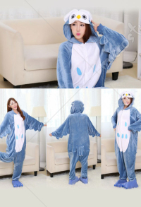 Owl Cute Warm Kigurumi Pajamas Flannel Costume for Adults and Kids