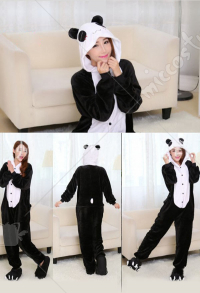 Panda Cute Warm Kigurumi Pajamas Flannel Costume for Adults and Kids