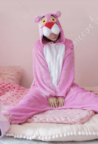 Pink Panther Cute Warm Kigurumi Pajamas Flannel Costume for Adults and Kids