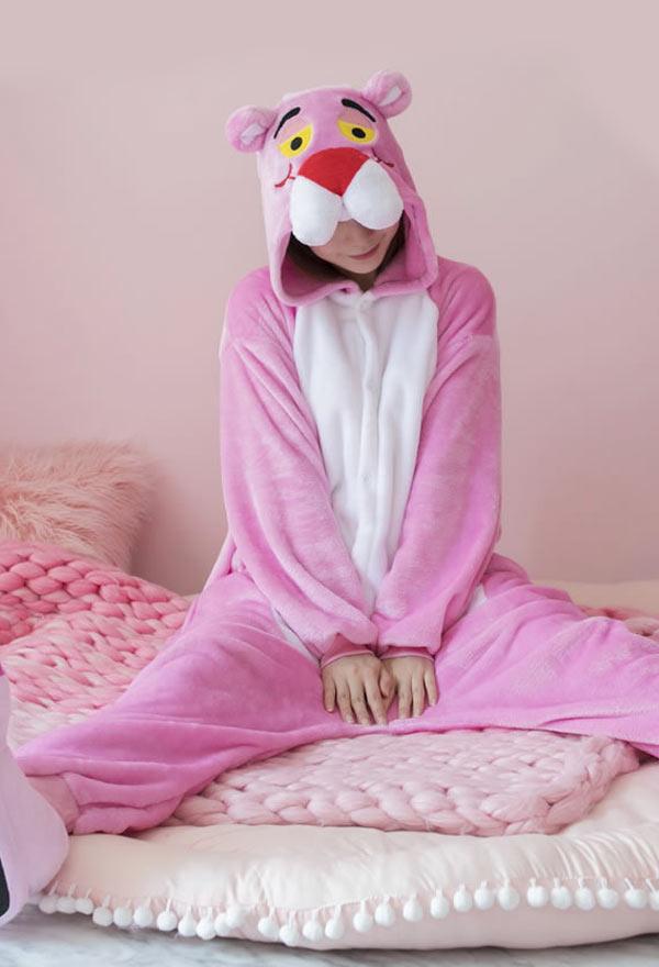 Süß Halloween Fasnacht Pink Panther Kinder Erwachsene Pyjama Schlafanzug Overall mit Kapuze Kostüm