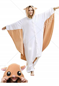 Kigurumi Brown Flying Squirrel Adult Onesie Pajama Cartoon Animal Polar Fleece Couple Wear Animal Costume
