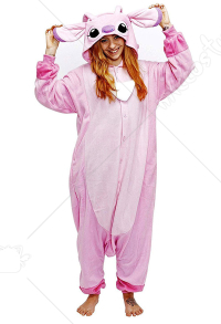Kigurumi Pink Patch Stitch Onesie Pajama Cartoon Animal Polar Fleece Male Female Animal Costume