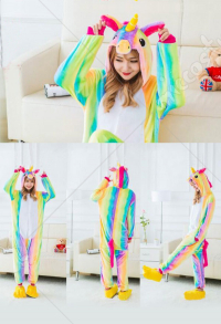 Rainbow Unicorn Cute Warm Kigurumi Pajamas Flannel Costume for Adults and Kids