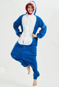 Kigurumi Shark Onesie Pajama Cartoon Animal Polar Fleece Homewear Male Female Animal Costume