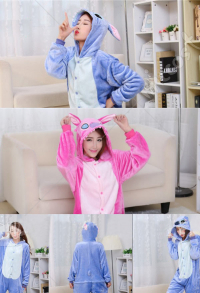Stitch Cute Warm Kigurumi Pajamas Flannel Costume for Adults and Kids