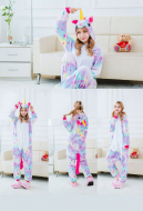 Star Unicorn Cute Warm Kigurumi Pajamas Flannel Costume for Adults and Kids