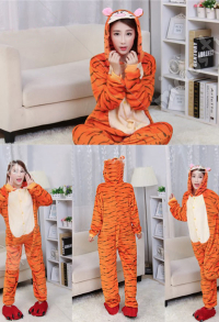 Tigger Cute Warm Kigurumi Pajamas Flannel Costume for Adults and Kids