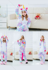 Unicorn Cute Warm Kigurumi Pajamas Flannel Costume for Adults and Kids