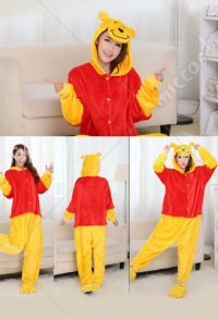 Winnie Pooh Bear Cute Warm Kigurumi Pajamas Flannel Costume for Adults and Kids