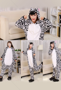 Zebra Cute Warm Kigurumi Pajamas Flannel Costume for Adults and Kids