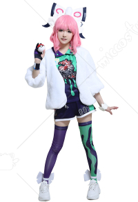 PM Sword and Shield Klara Gym Leader Cosplay Costume Full Set Gym Uniform with Fur Coat and Accessories
