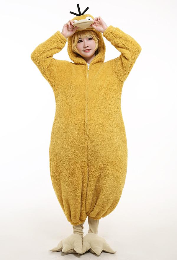 Psyduck Bodysuit Jumpsuit Gelb Cosplay Kostüm Einteilige Pyjamas Anzug Halloween mit Schuhschutz Cosplay Kostüm