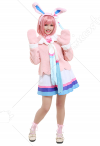 PM Sylveon Long Sleeved Velvet Coat and Ruffled Skirt Cosplay Costume Outfits with Long Ear Headdress Big Bow Accessory Gloves Pompom Decoratd Socks